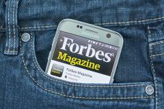 Forbes magazine app on cell phone